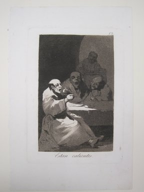 Francisco de Goya y Lucientes (Spanish, 1746-1828). <em>They Are Hot (Estan calientes)</em>, 1797-1798. Etching and aquatint on laid paper, Sheet: 11 13/16 x 7 15/16 in. (30 x 20.2 cm). Brooklyn Museum, A. Augustus Healy Fund, Frank L. Babbott Fund, and Carll H. de Silver Fund, 37.33.13 (Photo: Brooklyn Museum, CUR.37.33.13.jpg)