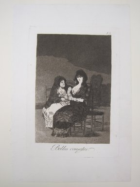 Francisco de Goya y Lucientes (Spanish, 1746-1828). <em>Pretty Teachings (Bellos consejos)</em>, 1797-1798. Etching, aquatint, and burin on laid paper, Sheet: 11 15/16 x 7 15/16 in. (30.3 x 20.2 cm). Brooklyn Museum, A. Augustus Healy Fund, Frank L. Babbott Fund, and Carll H. de Silver Fund, 37.33.15 (Photo: Brooklyn Museum, CUR.37.33.15.jpg)