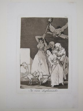 Francisco de Goya y Lucientes (Spanish, 1746-1828). <em>There They Go Plucked (Ya van desplumados)</em>, 1797-1798. Etching, aquatint, and drypoint on laid paper, Sheet: 11 7/8 x 5 3/16 in. (30.2 x 13.2 cm). Brooklyn Museum, A. Augustus Healy Fund, Frank L. Babbott Fund, and Carll H. de Silver Fund, 37.33.20 (Photo: Brooklyn Museum, CUR.37.33.20.jpg)