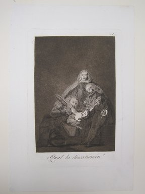 Francisco de Goya y Lucientes (Spanish, 1746-1828). <em>How They Pluck Her (¡Qual la descañonan!)</em>, 1797-1798. Etching and aquatint on laid paper, Sheet: 11 7/8 x 7 15/16 in. (30.2 x 20.2 cm). Brooklyn Museum, A. Augustus Healy Fund, Frank L. Babbott Fund, and Carll H. de Silver Fund, 37.33.21 (Photo: Brooklyn Museum, CUR.37.33.21.jpg)