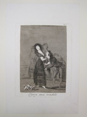 Francisco de Goya y Lucientes (Spanish, 1746-1828). <em>Which of Them Is the More Overcome? (Quien mas rendido?)</em>, 1797-1798. Etching, aquatint, and drypoint, Sheet: 11 7/8 x 7 7/8 in. (30.2 x 20 cm). Brooklyn Museum, A. Augustus Healy Fund, Frank L. Babbott Fund, and Carll H. de Silver Fund, 37.33.27 (Photo: Brooklyn Museum, CUR.37.33.27.jpg)