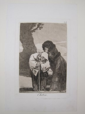 Francisco de Goya y Lucientes (Spanish, 1746-1828). <em>Hush (Chiton)</em>, 1797-1798. Etching, aquatint, and burin on laid paper, Sheet: 11 13/16 x 7 7/8 in. (30 x 20 cm). Brooklyn Museum, A. Augustus Healy Fund, Frank L. Babbott Fund, and Carll H. de Silver Fund, 37.33.28 (Photo: Brooklyn Museum, CUR.37.33.28.jpg)