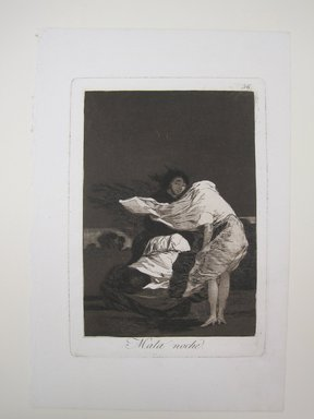 Francisco de Goya y Lucientes (Spanish, 1746-1828). <em>A Bad Night (Mala noche)</em>, 1797-1798. Etching and aquatint on laid paper, Sheet: 11 7/8 x 7 15/16 in. (30.2 x 20.2 cm). Brooklyn Museum, A. Augustus Healy Fund, Frank L. Babbott Fund, and Carll H. de Silver Fund, 37.33.36 (Photo: Brooklyn Museum, CUR.37.33.36.jpg)