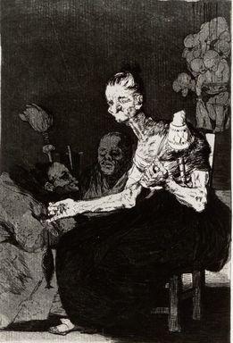 Francisco de Goya y Lucientes (Spanish, 1746-1828). <em>They Spin Finely (Hilan delgado)</em>, 1797-1798. Etching and aquatint, Sheet: 11 7/8 x 8 in. (30.2 x 20.3 cm). Brooklyn Museum, A. Augustus Healy Fund, Frank L. Babbott Fund, and Carll H. de Silver Fund, 37.33.44 (Photo: Brooklyn Museum, CUR.37.33.44.jpg)