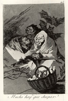 Francisco de Goya y Lucientes (Spanish, 1746-1828). <em>There Is Plenty to Suck (Mucho hay que chupar)</em>, 1797-1798. Etching and aquatint on laid paper, Sheet: 11 7/8 x 7 15/16 in. (30.2 x 20.2 cm). Brooklyn Museum, A. Augustus Healy Fund, Frank L. Babbott Fund, and Carll H. de Silver Fund, 37.33.45 (Photo: Brooklyn Museum, CUR.37.33.45.jpg)