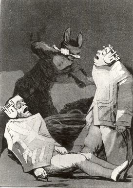 Francisco de Goya y Lucientes (Spanish, 1746-1828). <em>The Chincillas (Los Chinchillas)</em>, 1797-1798. Etching and aquatint on laid paper, Sheet: 11 7/8 x 7 15/16 in. (30.2 x 20.2 cm). Brooklyn Museum, A. Augustus Healy Fund, Frank L. Babbott Fund, and Carll H. de Silver Fund, 37.33.50 (Photo: Brooklyn Museum, CUR.37.33.50.jpg)