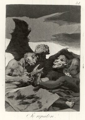 Francisco de Goya y Lucientes (Spanish, 1746-1828). <em>The Spruce Themselves Up (Se repulen)</em>, 1797-1798. Etching and aquatint on laid paper, Sheet: 11 7/8 x 8 in. (30.2 x 20.3 cm). Brooklyn Museum, A. Augustus Healy Fund, Frank L. Babbott Fund, and Carll H. de Silver Fund, 37.33.51 (Photo: Brooklyn Museum, CUR.37.33.51.jpg)