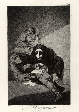 Francisco de Goya y Lucientes (Spanish, 1746-1828). <em>The Shamefaced One (El Vergonzoso)</em>, 1797-1798. Etching and aquatint on laid paper, Sheet: 11 7/8 x 7 15/16 in. (30.2 x 20.2 cm). Brooklyn Museum, A. Augustus Healy Fund, Frank L. Babbott Fund, and Carll H. de Silver Fund, 37.33.54 (Photo: Brooklyn Museum, CUR.37.33.54.jpg)
