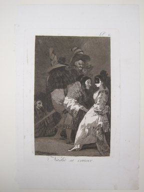 Francisco de Goya y Lucientes (Spanish, 1746-1828). <em>Nobody Knows Himself (Nadie se conoce)</em>, 1797-1798. Etching and aquatint on laid paper, Sheet (Uneven): 11 13/16 x 7 7/8 in. (30 x 20 cm). Brooklyn Museum, A. Augustus Healy Fund, Frank L. Babbott Fund, and Carll H. de Silver Fund, 37.33.6 (Photo: Brooklyn Museum, CUR.37.33.6.jpg)