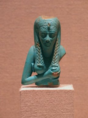 <em>Bust of Isis</em>, 305-30 B.C.E. Faience, 2 3/4 in. (7 cm). Brooklyn Museum, Charles Edwin Wilbour Fund, 37.333E. Creative Commons-BY (Photo: Brooklyn Museum, CUR.37.333E_wwg8.jpg)