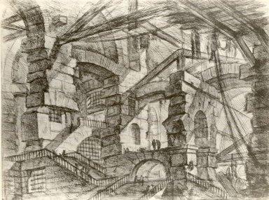 Giovanni Battista Piranesi (Italian, Venetian, 1720-1778). <em>Invenzioni Capric di Carceri; Hind 14, First State of Three</em>, ca. 1749. Etching on laid paper, 16 5/16 x 21 1/2 in. (41.5 x 54.6 cm). Brooklyn Museum, Frank L. Babbott Fund and Carll H. de Silver Fund, 37.356.12 (Photo: Brooklyn Museum, CUR.37.356.12.jpg)