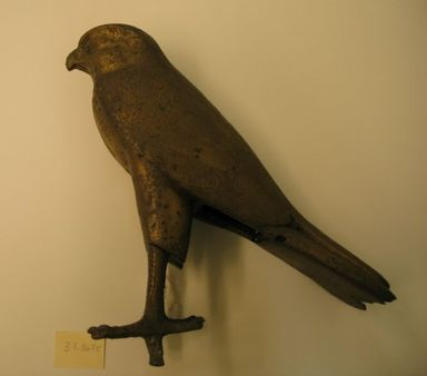 <em>Large Hawk</em>, 305-30 B.C.E. Bronze, 8 7/16 x 7 11/16 in. (21.5 x 19.5 cm). Brooklyn Museum, Charles Edwin Wilbour Fund, 37.367E. Creative Commons-BY (Photo: Brooklyn Museum, CUR.37.367E_view1.jpg)