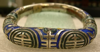 <em>Bracelet</em>, 19th century. silver, enamel, 3 1/4 x 2 15/16 in. (8.3 x 7.5 cm). Brooklyn Museum, Frank L. Babbott Fund, 37.371.134. Creative Commons-BY (Photo: Brooklyn Museum, CUR.37.371.134.jpg)