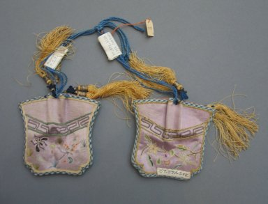 <em>Pair of Pouches</em>, early 20th century. Satin, 3 3/8 x 3 1/8 in. (8.5 x 8 cm). Brooklyn Museum, Frank L. Babbott Fund, 37.371.312a-b. Creative Commons-BY (Photo: Brooklyn Museum, CUR.37.371.312a-b_side1.jpg)