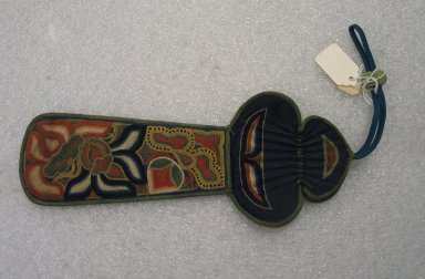 <em>Pipe Holder or Purse</em>. Silk, satin, turquoise, 4 5/16 x 10 1/4 in. (11 x 26 cm). Brooklyn Museum, Frank L. Babbott Fund, 37.371.74. Creative Commons-BY (Photo: Brooklyn Museum, CUR.37.371.74_front.jpg)