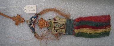 <em>Scented Tassel</em>. Silk, satin, with fringe: 2 9/16 x 11 13/16 in. (6.5 x 30 cm). Brooklyn Museum, Frank L. Babbott Fund, 37.371.76. Creative Commons-BY (Photo: Brooklyn Museum, CUR.37.371.76.jpg)