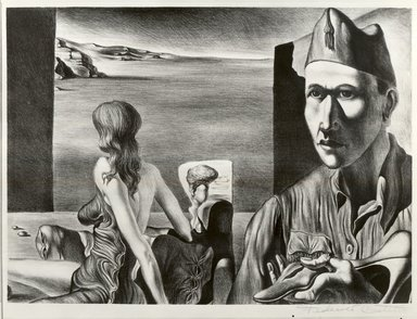 Federico Castellon (American, born Spain, 1914-1971). <em>Self Portrait with Model</em>, 1937. Lithograph, 9 13/16 x 13 11/16 in. (24.9 x 34.8 cm). Brooklyn Museum, By exchange, 37.373. © artist or artist's estate (Photo: Brooklyn Museum, CUR.37.373.jpg)