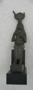 <em>Statue of Isis Seated</em>, 664-332 B.C.E. Bronze, silver or electrum, 9 7/16 x 2 1/2 x 5 in. (24 x 6.4 x 12.7 cm). Brooklyn Museum, Charles Edwin Wilbour Fund, 37.404E. Creative Commons-BY (Photo: Brooklyn Museum, CUR.37.404E.jpg)