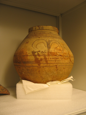 <em>Jar</em>, ca. 1352-1332 B.C.E. Clay, pigment, 15 3/4 × 14 3/16 in. (40 × Diam. 36 cm). Brooklyn Museum, Gift of the Egypt Exploration Society, 37.412. Creative Commons-BY (Photo: , CUR.37.412_view01.jpg)