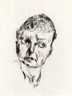 Ludwig Meidner (German, 1884-1966). <em>Mrs. Jaeckel (Frau Jaeckel)</em>, 1919. Drypoint on laid paper, Image (Plate): 9 3/8 x 7 1/2 in. (23.8 x 19.1 cm). Brooklyn Museum, Gift of J. B. Neumann, 37.426. © artist or artist's estate (Photo: Brooklyn Museum, CUR.37.426.jpg)