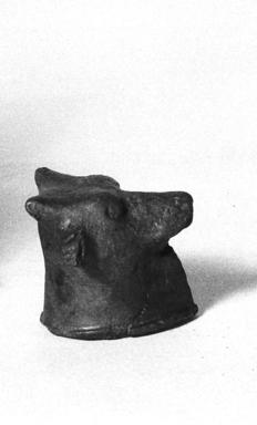 <em>Small Head of a Bull</em>, 305-30 B.C.E. Bronze, 1 1/4 x 1 7/16 x 1 3/8 in. (3.1 x 3.7 x 3.5 cm). Brooklyn Museum, Charles Edwin Wilbour Fund, 37.429E. Creative Commons-BY (Photo: Brooklyn Museum, CUR.37.429E_neg_37.426E_grpA_bw.jpg)