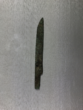 <em>Small Knife</em>, 305-30 B.C.E. Bronze, 1/2 × 1/16 × 4 5/8 in. (1.3 cm, 2mm, 11.8 cm). Brooklyn Museum, Charles Edwin Wilbour Fund, 37.452E. Creative Commons-BY (Photo: , CUR.37.452E_view01.jpg)