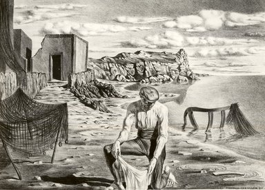 Federico Castellon (American, born Spain, 1914-1971). <em>Landscape in Spain</em>, 1937. Lithograph, 9 13/16 x 13 7/8 in. (24.9 x 35.2 cm). Brooklyn Museum, By exchange, 37.480. © artist or artist's estate (Photo: Brooklyn Museum, CUR.37.480.jpg)