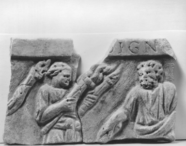 <em>Relief Fragment with Two Figures</em>, 4th century C.E. Marble, 5 1/8 x 8 11/16 in. (13 x 22 cm). Brooklyn Museum, Gift of Marvin Chauncey Ross, 37.525a-b. Creative Commons-BY (Photo: Brooklyn Museum, CUR.37.525a-b_NegA_print_bw.jpg)