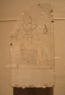 <em>Sketch of Osiris</em>, 305-30 B.C.E. Limestone, pigment, 15 x 7 1/2 x 3 9/16 in. (38.1 x 19 x 9 cm). Brooklyn Museum, Charles Edwin Wilbour Fund, 37.52E. Creative Commons-BY (Photo: Brooklyn Museum, CUR.37.52E_wwg8.jpg)