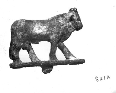 <em>Small Statuette of a Bull</em>, 305-30 B.C.E. Bronze, 1 15/16 x 11/16 x 2 7/16 in. (5 x 1.7 x 6.2 cm). Brooklyn Museum, Charles Edwin Wilbour Fund, 37.553E. Creative Commons-BY (Photo: Brooklyn Museum, CUR.37.553E_NegA_print_bw.jpg)