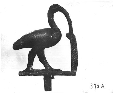 <em>Small Statuette of an Ibis</em>, 664-332 B.C.E. Bronze, 2 13/16 x 11/16 x 2 1/8 in. (7.1 x 1.7 x 5.4 cm). Brooklyn Museum, Charles Edwin Wilbour Fund, 37.555E. Creative Commons-BY (Photo: Brooklyn Museum, CUR.37.555E_NegA_print_bw.jpg)