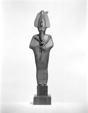 <em>Small Statuette of Osiris</em>, 664-332 B.C.E. Bronze, 3 3/4 x 1 3/16 x 7/8 in. (9.5 x 3.1 x 2.3 cm). Brooklyn Museum, Charles Edwin Wilbour Fund, 37.563E. Creative Commons-BY (Photo: Brooklyn Museum, CUR.37.563E_NegA_bw.jpg)