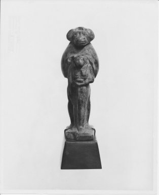 <em>Amulet of Standing Ape Preceded by Sekhmet</em>. Serpentine, 2 9/16 x 7/8 x 1 1/4 in. (6.5 x 2.3 x 3.2 cm). Brooklyn Museum, Charles Edwin Wilbour Fund, 37.592E. Creative Commons-BY (Photo: Brooklyn Museum, CUR.37.592E_NegA_print_bw.jpg)