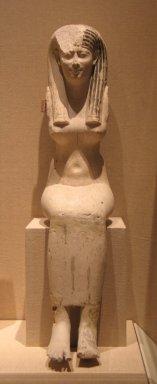 <em>Seated Goddess</em>, 305-30 B.C.E. Plaster, wood, pigment, 21 × 4 13/16 × 12 1/16 in. (53.4 × 12.2 × 30.7 cm). Brooklyn Museum, Charles Edwin Wilbour Fund , 37.594Ea-b. Creative Commons-BY (Photo: Brooklyn Museum, CUR.37.594Ea-b_wwg8.jpg)