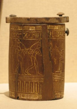 <em>Cylindrical Box</em>, ca. 1336-1295 B.C.E. Wood, 4 3/8 × Diam. 2 15/16 in. (11.1 × 7.4 cm). Brooklyn Museum, Charles Edwin Wilbour Fund, 37.600E. Creative Commons-BY (Photo: Brooklyn Museum, CUR.37.600Ea-b_wwg8.jpg)