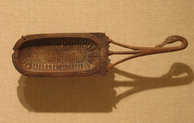 <em>Toilet Spoon with Bowl in Shape of a Cartouche</em>, ca. 1336-1295 B.C.E. Wood, paste, 2 3/8 x 9 3/16 in. (6 x 23.3 cm). Brooklyn Museum, Charles Edwin Wilbour Fund, 37.616E. Creative Commons-BY (Photo: Brooklyn Museum, CUR.37.616E_wwg8.jpg)