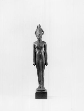<em>Small Statue of the Goddess Satis</em>. Bronze, 4 x 7/8 x 1 3/16 in. (10.1 x 2.3 x 3 cm). Brooklyn Museum, Charles Edwin Wilbour Fund, 37.688E. Creative Commons-BY (Photo: Brooklyn Museum, CUR.37.688E_NegB_print_bw.jpg)