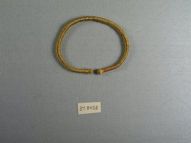 <em>Bracelet</em>, 3rd-1st century B.C.E. Gold, Diam. 2 9/16 in. (6.6 cm). Brooklyn Museum, Charles Edwin Wilbour Fund, 37.843E. Creative Commons-BY (Photo: Brooklyn Museum, CUR.37.843E_view1.jpg)