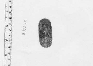 <em>Seal with Crudely Cut Design</em>. Steatite, glaze, 9/16 in. (1.5 cm). Brooklyn Museum, Charles Edwin Wilbour Fund, 37.866E. Creative Commons-BY (Photo: , CUR.37.866E_NegA_print_bw.jpg)