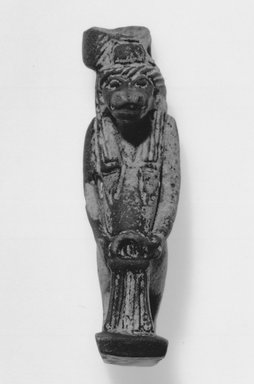 <em>Amulet of Taweret</em>. Faience, glazed, Height: 2 9/16 in. (6.5 cm). Brooklyn Museum, Charles Edwin Wilbour Fund, 37.958E. Creative Commons-BY (Photo: Brooklyn Museum, CUR.37.958E_bw.jpg)