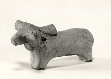 Indus Valley Culture. <em>Small Model of Bullock or Humped Ox</em>, 3000-2500 B.C. Reddish pottery, 1 3/4 x 1 3/16 x 3 9/16 in. (4.5 x 3 x 9 cm). Brooklyn Museum, A. Augustus Healy Fund, 37.96. Creative Commons-BY (Photo: Brooklyn Museum, CUR.37.96_bw.jpg)