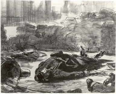 Édouard Manet (French, 1832-1883). <em>Civil War (Guerre civile, or Scène de la Commune de Paris)</em>, 1871-1873. Lithograph on Chine colle paper, 15 1/2 x 19 7/8 in. (39.4 x 50.5 cm). Brooklyn Museum, By exchange, 38.133 (Photo: Brooklyn Museum, CUR.38.133.jpg)