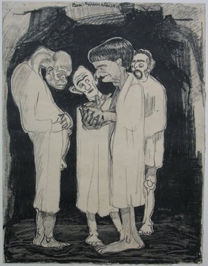 "Benjamin ""Benno"" Greenstein (American, 1901-1980). <em>A Grotesque (Four White Men)</em>, 1919. Black crayon on paper, Sheet: 11 1/16 x 8 1/2 in. (28.1 x 21.6 cm). Brooklyn Museum, Anonymous gift, 38.188 (Photo: Brooklyn Museum, CUR.38.188.jpg)"