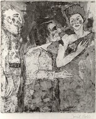 Emil Nolde (German, 1867-1956). <em>Woman, Man, Servant (Frau, Mann, Diener)</em>, 1918. Etching with stipple and tonal effects on wove paper, Image (Plate): 10 1/4 x 8 5/8 in. (26 x 21.9 cm). Brooklyn Museum, Brooklyn Museum Collection, 38.215 (Photo: Brooklyn Museum, CUR.38.215.jpg)