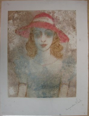 Augustus Peck (American, 1906-1975). <em>Girl with Red Hat</em>, 1938. Color monotype on paper, Sheet: 20 x 15 1/8 in. (50.8 x 38.4 cm). Brooklyn Museum, Dick S. Ramsay Fund, 38.219 (Photo: Brooklyn Museum, CUR.38.219.jpg)