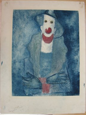 Augustus Peck (American, 1906-1975). <em>Clown as a Fireman</em>, 1937. Color monotype on paper, Sheet: 19 13/16 x 14 3/4 in. (50.3 x 37.5 cm). Brooklyn Museum, Dick S. Ramsay Fund, 38.220 (Photo: Brooklyn Museum, CUR.38.220.jpg)