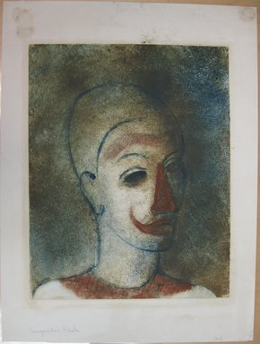 Augustus Peck (American, 1906-1975). <em>Head of a Clown (Clown with Red Nose)</em>, 1938. Monotype in color on white wove paper, Sheet: 20 1/4 x 15 1/16 in. (51.4 x 38.3 cm). Brooklyn Museum, By exchange, 38.222 (Photo: Brooklyn Museum, CUR.38.222.jpg)