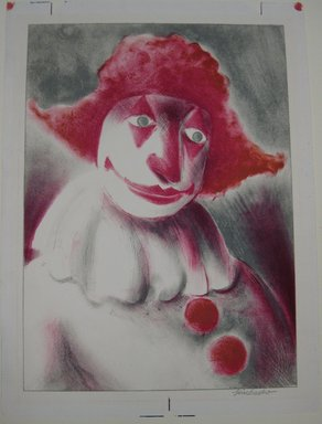 Russell T. Limbach (American, 1904-1971). <em>Clown with Red Cap</em>. Color lithograph from two stones on white wove paper, Sheet: 13 13/16 x 10 3/16 in. (35.1 x 25.9 cm). Brooklyn Museum, Dick S. Ramsay Fund, 38.223 (Photo: Brooklyn Museum, CUR.38.223.jpg)