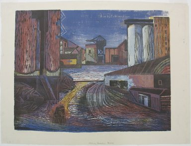 Hyman J. Warsager (American, 1909-1974). <em>Along Harlem River</em>, 1938. Color woodcut on white laid paper, Sheet: 15 7/16 x 20 1/2 in. (39.2 x 52.1 cm). Brooklyn Museum, Dick S. Ramsay Fund, 38.225 (Photo: Brooklyn Museum, CUR.38.225.jpg)