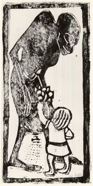 Christian Rohlfs (German, 1849-1939). <em>Death and Child (Tod und Kind)</em>, ca. 1912-1913. Lithograph on wove paper, Image: 14 1/2 x 7 7/8 in. (36.8 x 20 cm). Brooklyn Museum, By exchange, 38.267 (Photo: Brooklyn Museum, CUR.38.267.jpg)
